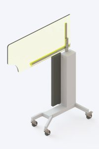 Height adjustable lead acrylic viewing screen